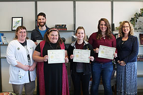 "Four Montcalm Community College students were honored April 19 for their essays in the college's ""Dreamin's Free"" contest. Pictured from left are MCC Biology Instructor and contest founder Michelle Gibson; Dawson Mallay, of Vestaburg; Dezirae Lincoln, of Greenville; Emily Boley, of Fenwick; Megan Baird, of Howard City; and MCC Dean of Student & Enrollment Services Debbi Alexander."